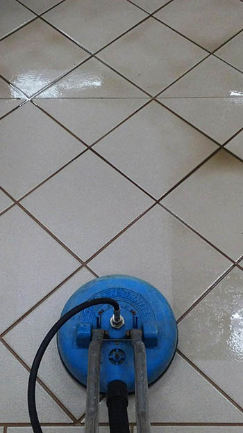 Tile Steam Cleaning In Process